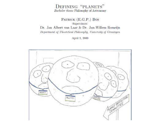 "BA philosophy thesis: ""Defining ``Planets''"""